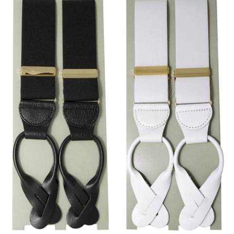 Luxury buttons braces with leather end